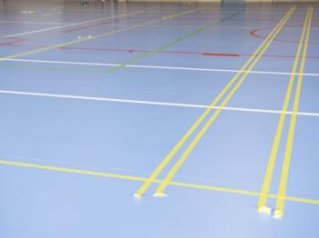 Bild för referens Nytt golv Fjärhundraskolan sporthall